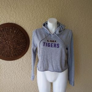 Pink LSU crop hooded pull on  sweater